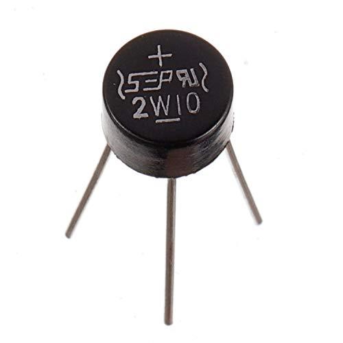 BOJACK 2W10 2 A 1000 V Diodos rectificadores de puente Axial 2W10 2 amperios Diodos electrónicos de silicio de onda completa de 1000 voltios (paquete de 30 piezas)