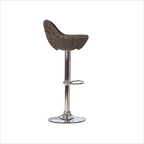 XIAOYAN Bar Taburete Metal + Rattan Weave 360 ° Rotación (Puede elevarse y bajarse) Cashier Stool Coffee Bar Stool