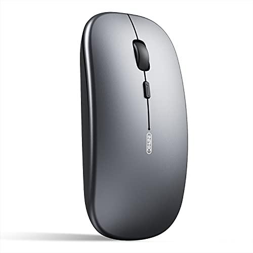 INPHIC Ratón Bluetooth, Ratón inalámbrico Bluetooth Recargable silencioso Multi-Dispositivo (Modo Triple: BT 5.0/3.0 + 2.4G), Ratón Ordenador 1600DPI para PC portátil, Mac iPadOS, Gris