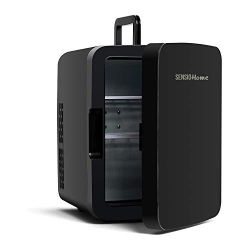 SENSIOHOME 15L Mini refrigeratore e riscaldatore | Compatibilità alimentazione AC + DC - Spina UK & EU | Compatto, portatile e silenzioso, Per la casa, camera da letto, auto, auto, vacanze (Nero)