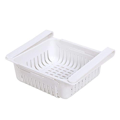 Canasta de almacenamiento para frigorífico Organizador de cajones retráctiles Estante de almacenamiento de capas de frigorífico creativo para verduras y frutas-White