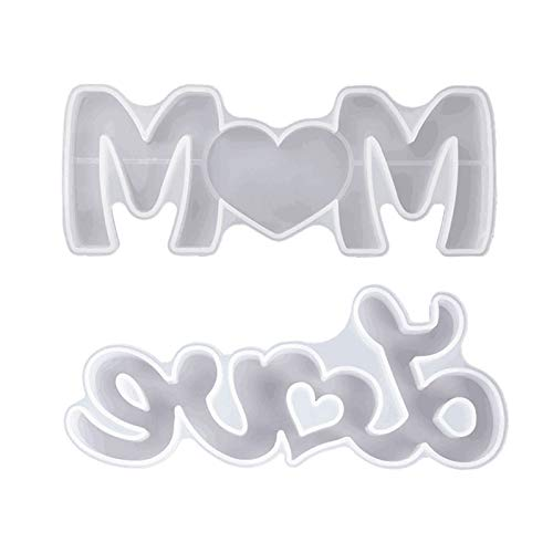 SOMESUN Silicone Love & Mom Mold, Resin Word Mold Epoxy Resin Molds for DIY Table Decoration with A Fairy Light to Create Your Romantic Resin Dream Idea Gift for Mother's Day