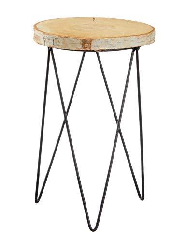 Meinposten. Beistelltisch Baumscheibe Holz Metall Holzscheibe Natur Tischchen Tisch Ø 20 cm