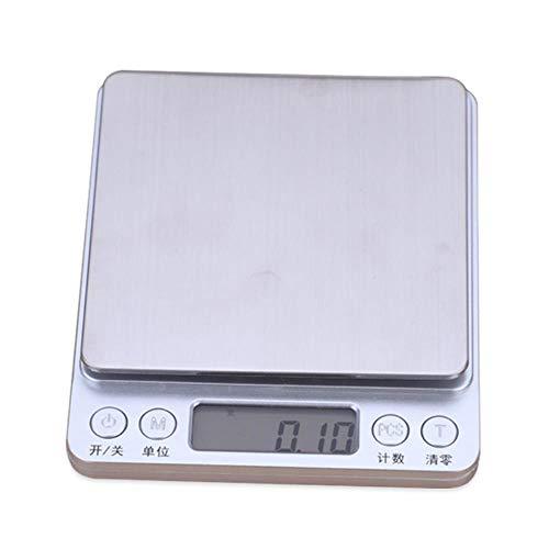 XNSZ Báscula de cocina Digital Para cocinar/hacer dieta/hornear/joyería/líquidos - Capacidad de 6.6 LB / 3kg Con 0.1g de incremento - Mini de Alta precisión - Blanco