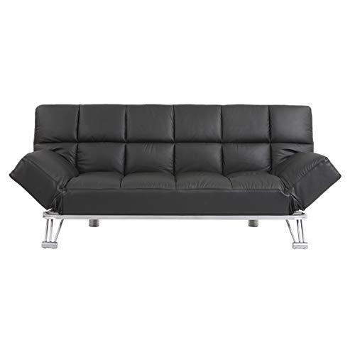 Miliboo - Sofá cama de piel 3 plazas color negro MANHATTAN