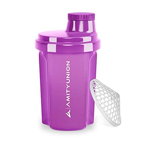 """Protein Shaker 300 ml """"Heaven"""" auslaufsicher, BPA frei mit einklickbarem Sieb & Skala für Cremige Whey Shakes, Gym Fitness Becher für Isolate & Sport Konzentrate, Eiweiß Shaker, Original in Violett"""