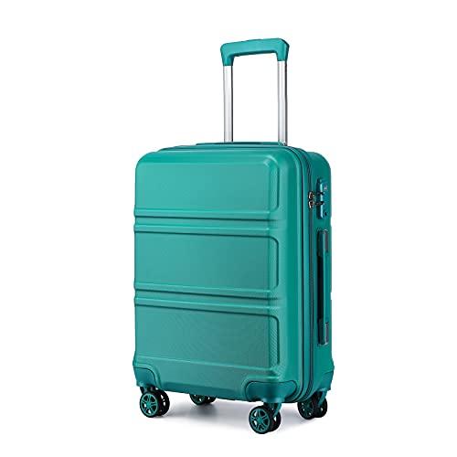 Kono Zwillingsrollen Reisekoffer ABS Hartschale Koffer Trolleys 55 cm Handgepäck mit TSA-Schloß (Türkis)