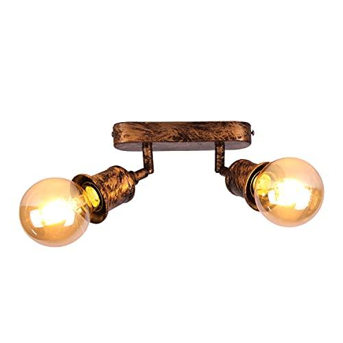 2 Luces de techo giratorias, Vintage Plafones, Rusticos Plafón,aplique techo interior vintage, Luz enchufes E27, 60 W máx (Sin bombilla)