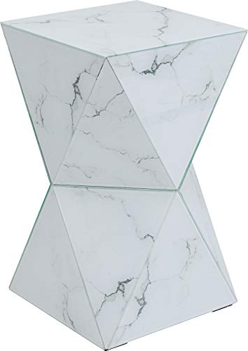 Kare Table d'appoint Luxury Triangle Marble, Blanc, 32 x 32 x 54