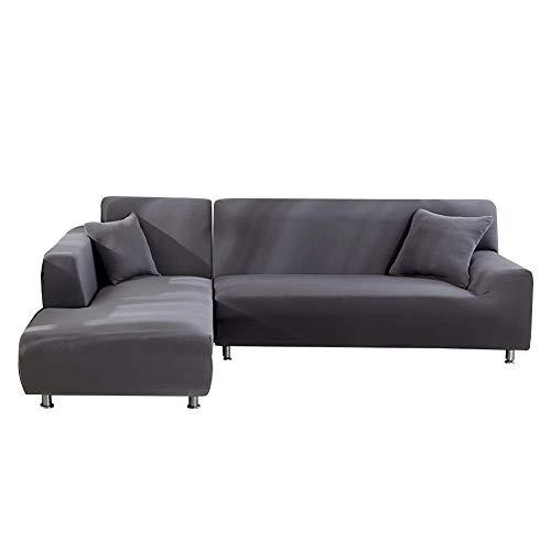ele ELEOPTION Sofa Überwürfe elastische Stretch Sofa Bezug 2er Set 3 Sitzer für L Form Sofa inkl. 2 Stücke Kissenbezug (Grau)