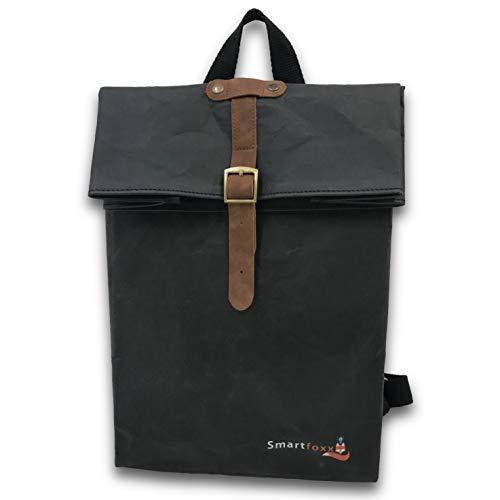Smartfoxx Rolltop Rucksack Damen Klein Daypack kompakt Tasche Kids Herren Velox, Nachhaltig Öko Plastikfrei Vegan, Wasserfest, Robust (Klassisch Schwarz)