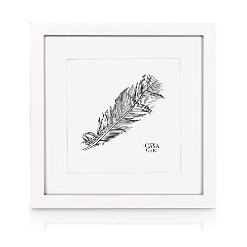 Classic by Casa Chic - Quadratischer Bilderrahmen - Weiß - 25x25 cm - mit bruchfestem Sicherheitsglas - mit Passepartout 18x18 cm - Rahmenbreite 2cm