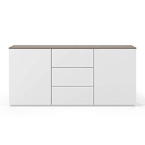 Buffets Design et élégants, Collection Join, signée TEMAHOME. - Join 180H1, Base Classique, Blanc Mat, Plateau en Noyer