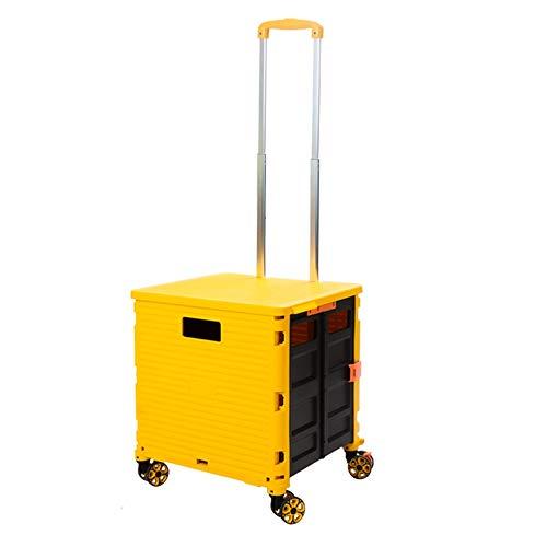 MinMin Handwagen, kaufen Lebensmittel Wagen Licht Handkarre klappbaren tragbaren Warenkorb Kinderwagen vierrädrigen Wagen Haushalt Anhänger Wagen (Color : Yellow)