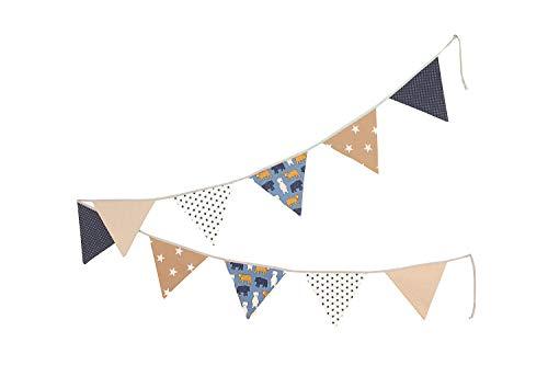 Bandierine ULLENBOOM ® sabbia, orso (ghirlanda di stoffa: 3,25 m, 10 bandierine, decorazione per la cameretta per bambini e feste)