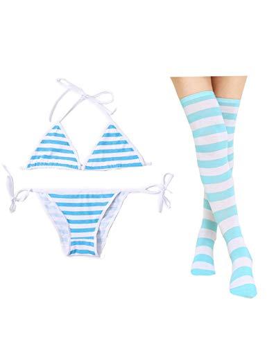Oludkeph 3 PCS Sexy japanische süße Anime Dessous Set für Frauen mit gestreiften Oberschenkel High Socks Bikini (Blau, S-M)