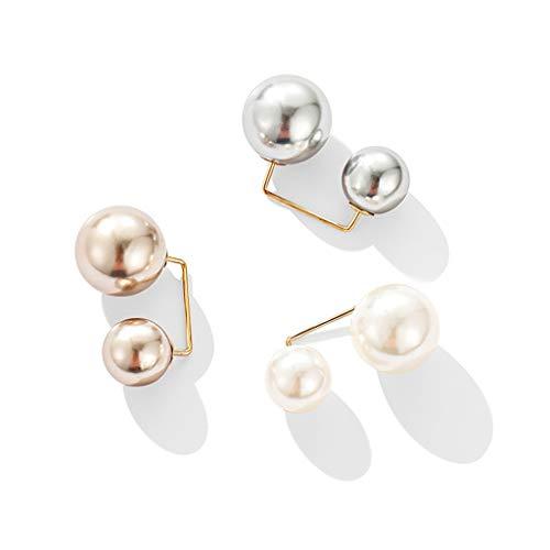 Climkeg 3 Stück künstliche Perlen-Brosche Mode Pullover Schal Clip Sicherheit Knöpfe Brosche Kleidung Jeans Hut Tasche Dekoration (B)