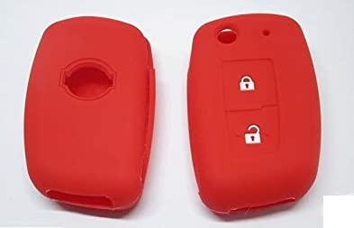 Carcasa para llave compatible con Nissan Juke Qashqai Note Micra de silicona de 2 botones funda suave protección mando a distancia coche 7 colores de calidad (rojo)