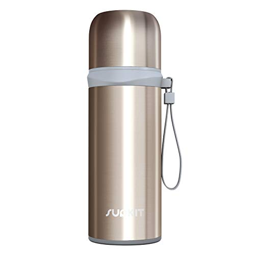 Supkit 12OZ / 350ML Thermos Cup Stainless Steel Coffee Thermos Mugs Vacuum Insulated Water Bottle Keep Hot & Cold for 24 Hours, Perfect for Biking, Camping, Office, Car or Outdoor Travel (Gold)