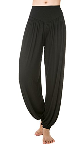 Lanmay Women's Elastic Soft Modal Cotton Yoga Sports Pants Dance Harem Pants XX-Large Black Delaware