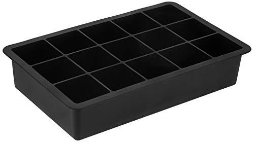 Amazon Brand - Solimo 15 Cavity Silicone Ice Tray, Black