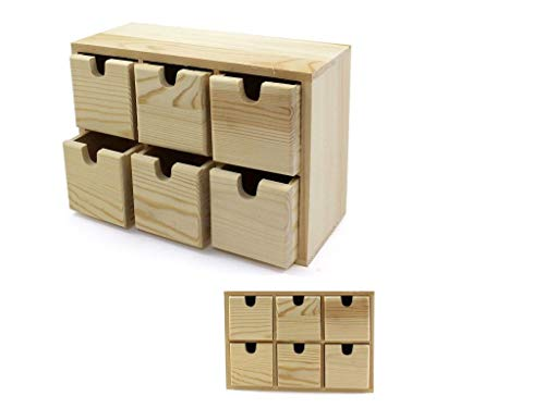 Takestop - Cajonera de madera, 14,5 x 7,7 x 21 cm, con 6 cajones, para guardar objetos