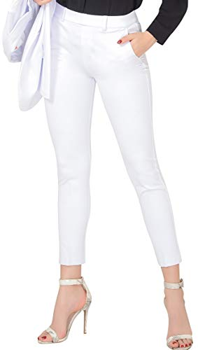 Marycrafts Women's Pull On Stretch Yoga Dress Business Work Pants 16 White