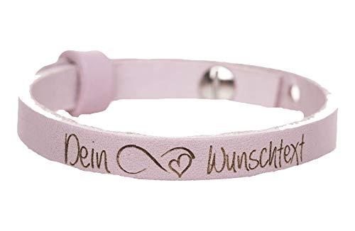 KT-Schmuckdesign Lederarmband in rosa mit Infinity Symbol und Wunschtext, 23 cm Länge, 8 mm Breite