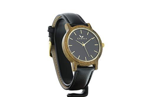 Reloj de Madera de sándalo Tofino de CWA, en Color Negro, Mecanismo de Cuarzo japonés Miyota, Reloj de Madera auténtica con Correa de Cambio, Reloj de Pulsera con Esfera de Madera auténtica