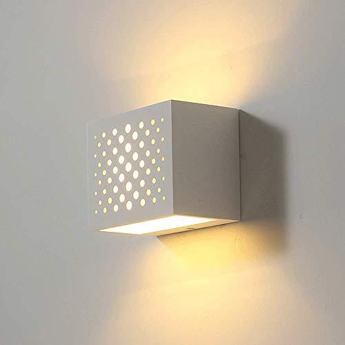 JJRPPFF Lámparas de Pared Blancas, lámpara LED de 7 W, iluminación Creativa de Pared ahuecada con Acabado de Yeso, Aplique de Luces...