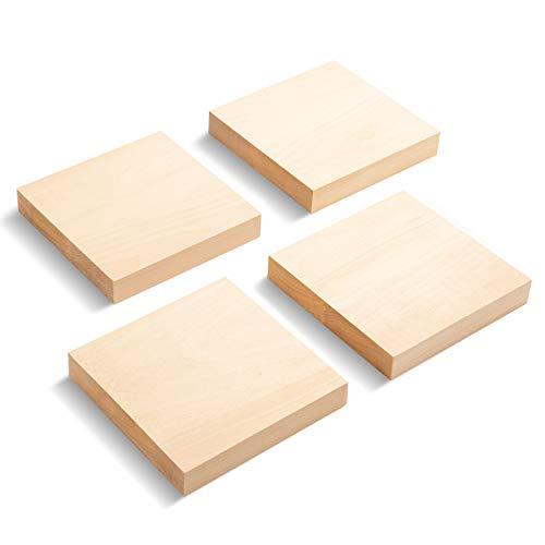 Yangbaga 4 Stücke Schnitzholz Set DIY Natürlich Unfertige Holzblöcke aus Lindenholz 15*15*1cm Ecking zum Schnitzen für Anfänger Schnitzholz für Kinder und Erwachsene Holz zum Schnitzen Hobby Kit