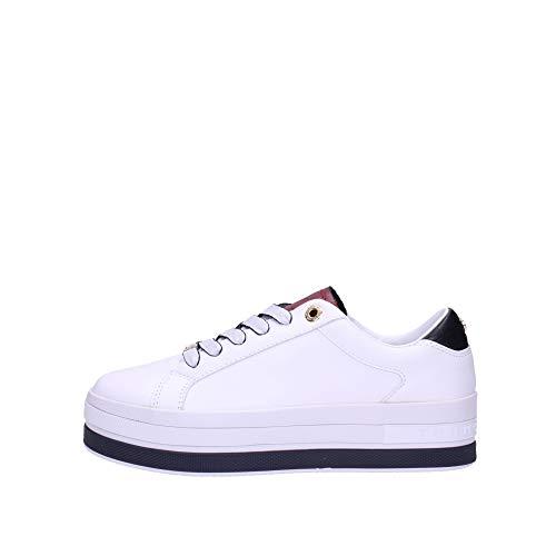 Tommy Hilfiger Damen Flatform Cupsole Tennisschuhe Sneaker Weiß 37 EU