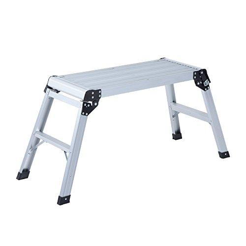 HOMCOM Banco Plegable Plataforma de Trabajo Escalera de Aluminio 150Kg Escalon Taburete