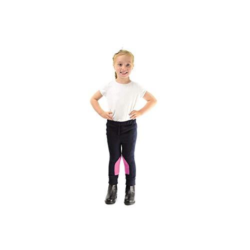 HyPERFORMANCE - Pantalón para Montar de Tejido Polar para niños niñas (Large) (Azul Marino/Rosa Bonito)