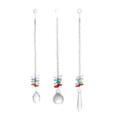 YARNOW 3 Stück Kristallanhänger Achteckige Klare Kristallanhänger Kristallperlenkette für Fenster Tür Vorhang Hochzeit Partydekor