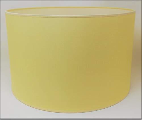 Zylinder Lampenschirm Baumwolle Stoff handgefertigt für Deckenleuchte, Tischleuchte, Stehlampe (Gelb, 25 cm Durchmesser 20 cm Höhe)