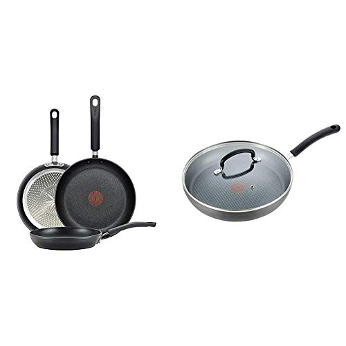 T-fal E938S3 Professional Total Nonstick Thermo-Spot Heat Indicator Fry Pan Cookware Set, Black & Dishwasher Safe Cookware Fry Pan with Lid Hard Anodized Titanium Nonstick, 12-Inch, Black