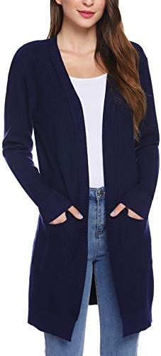 iClosam Women Long Sleeve Open Front Knitted Crochet Cardigan Sweater Drape Dressy Cardigans product image