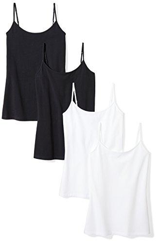 Amazon Essentials Women's 4-Pack Slim-Fit Camisole, Black/Black/White/White, X-Large