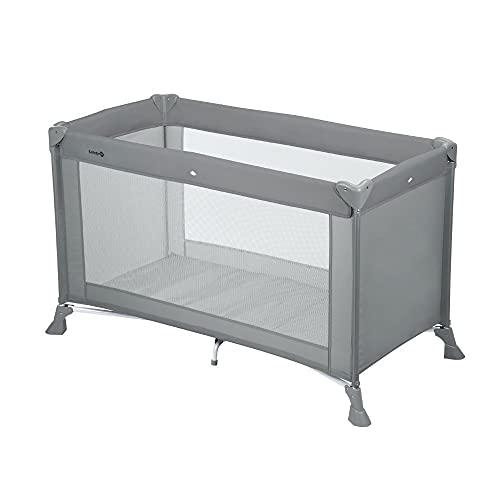 Safety 1st Soft Dreams Convenient and Compact Baby Travel Cot, Mattress Included, from Birth to Approx. 3 yrs, Full Grey
