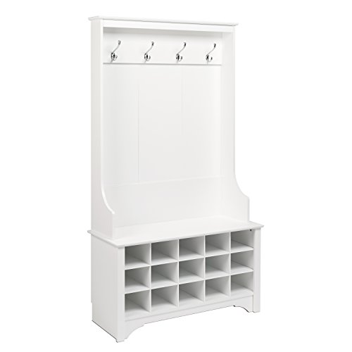 Prepac Hall Tree with Shoe Storage in White Finish