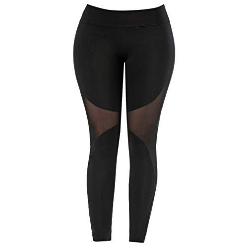 Alvinlite Mujeres Yoga Fitness Leggings Running Gym Stretch Sports Pantalones de Malla de Cintura Alta Negro(L)