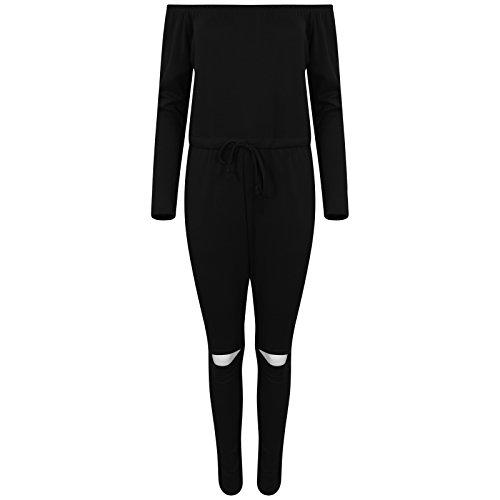MBC-Mesdames Bardot hors épaule Ripped genou Jumpsuit Combinaison Vêtement Pantalon Couture barboteuse parti occasionnel Taille 34-44(T/M-Miss Boho Chic) (M/L-(40-44), Noir)