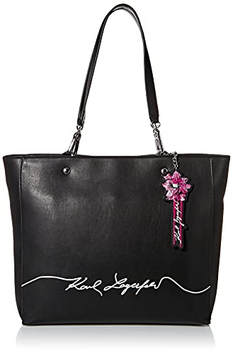 KARL LAGERFELD Paris Damen Adele Large Tote Stofftasche, Schwarz Kombi, Einheitsgröße