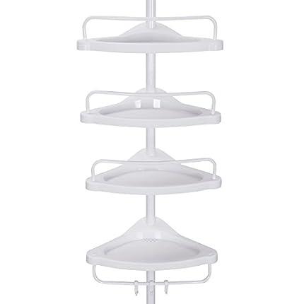 SONGMICS 85-305 cm Estantería esquinera para baño con 4 baldas Estantes para artículos de Ducha Altura Ajustable BCB001A