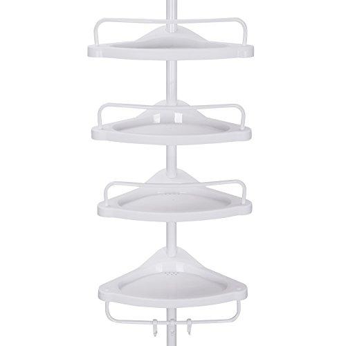 SONGMICS Duschregal, 85-305 cm höhenverstellbar, Badregal mit 4 Tabletts, Duschecke, kein Bohren notwendig, weiß BCB001A