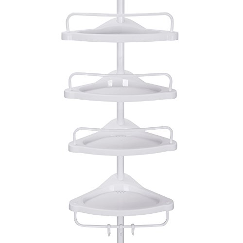 SONGMICS Adjustable Bathroom Corner Shelf, Telescopic Shower Caddy, 85-305 cm, Floor to Ceiling, with 4 Trays, 3 Hooks, White BCB001A