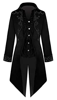 SWHRIOPD Men s Steampunk Gothic Jacket Long Sleeve Button Vintage Victorian Tailcoat Tuxedo Uniform Halloween Costume Coat Black