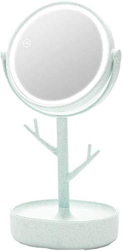 LHY- Maquillage Miroir Lumineux Femme Portable Dortoir Artefact Mignon Petit Miroir Charging La Mode (Color : Green)