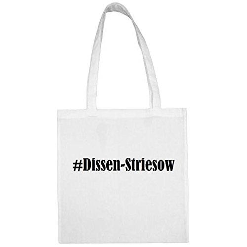 Tasche #Dissen-Striesow Größe 38x42 Farbe Weiss Druck Schwarz